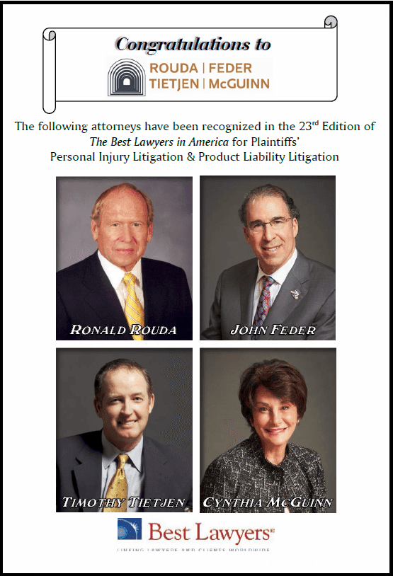 The Best Lawyers in America for Plaintiffs' Personal Injury Litigation & Product Liability Litigation